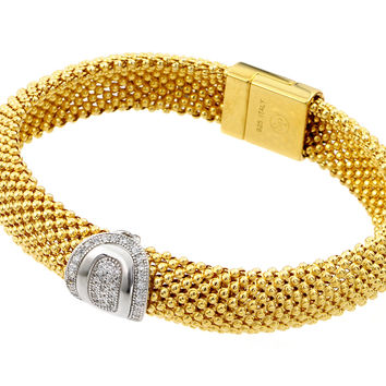 .925 Sterling Silver Gold Plated Oval Micro Pave Clear Cubic Zirconia Beaded Italian Bracelet: SOD