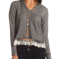 Lace Trim French Terry Hoodie by Charlotte Russe - Charcoal