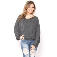 Oversized Peasant Top - Novelty Tanks - Novelty Knit Tops - Tops