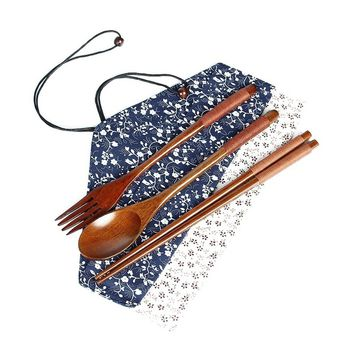 Set of 3 Wooden Chopsticks Spoon Fork Portable Wood Portable Tableware with Japanese-style Bag