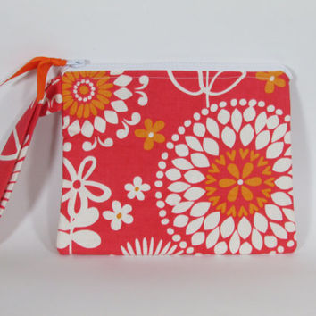 Cosmetic Bag Handmade Orange, Pink and White Floral Print with Vinyl Lining | Makeup Bag | Toiletry Bag | Zipper Pouch | Cosmetic Case