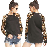 Casual Leopard Printed Long Sleeve Warm Sweatshirt Women Sport Pullover Hoodie Outerwear = 1946298564