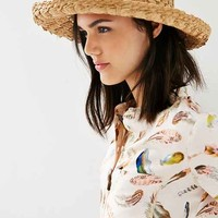Textured Straw Turned Up Sun Hat