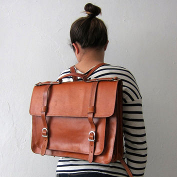 Backpack cowhide leather satchel (Handmade to order)