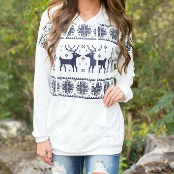 DCCKI2G CHRISTMAS MOOSE PRINTING HOODED SWEATER