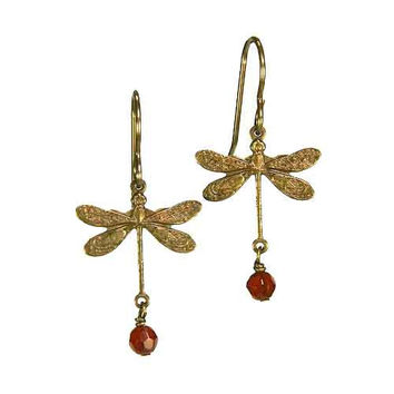 Dragonfly Earrings in Vintage Natural Brass with 4mm Carnelian Stones