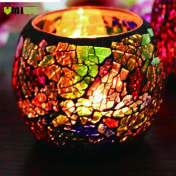 Umiwe Handmade Decorative Glass Tealight Candle Holder Candle Lantern Centerpiece for Party Wedding