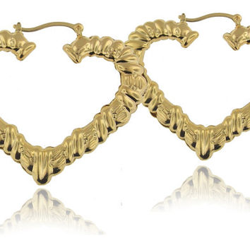 """Celebrity Style Heart Bamboo Earrings with Yellow Gold Overlay - 2.5"""" Large Hoop Earrings"""