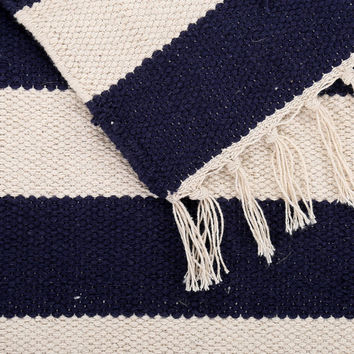 FREE SHIPPING - Nautical Area Rug -Navy Ivory Cotton Handwoven Flat Weave Rug -Modern Decor -Contemporary Dhurrie Rug -Stripe Rug - 4x6 feet
