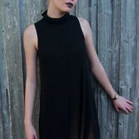 It's-a-Wrap Turtleneck Tank Dress in Black