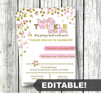 Twinkle Twinkle Little Star Birthday Invitation pink and gold editable template printable instant download confetti invite girl 1st birthday
