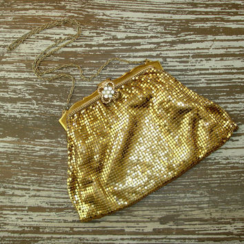 Vintage Whiting and Davis Gold Mesh Purse, Clutch, Evening Bag, 1940s Mid Century Metal Handbag, Rhinestone Clasp, Womens Accessory, Prom