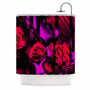 "Dawid Roc ""Red Roses-Flower Geometric"" Pink Black Shower Curtain"