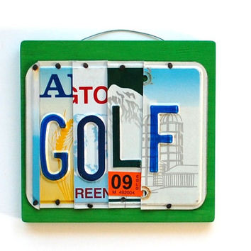 GOLF, OOAK License PLate Art, uniqe gift, One of a Kind Sporting Home decor, Valentines Day, Mothers Day, Fathers Day,  Wedding Gift
