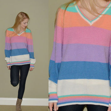 Vintage Pastel Striped Sweater Womens Jumper Slouchy Sweater Colorful Hipster Tumblr Large Slouchy Gitano Sweater