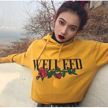 One-nice™ WELL FED Women Fashion Rose Long Embroidery Sleeve Top Sweater Pullover Hoodie