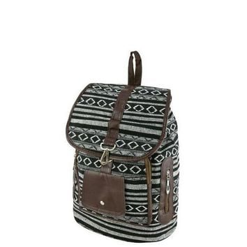 LCMFON Black Tribal Print Backpack