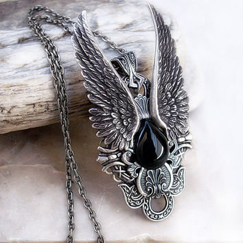 Silver Angel Wing Necklace Black Onyx Womens Mens by Aranwen