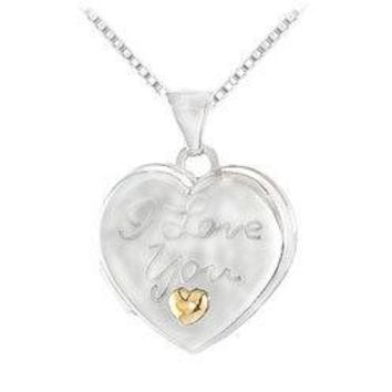 Sterling Silver Locket Engraved with I LOVE YOU & 14K Yellow Heart Pendant - 15.00 X 16.50 MM