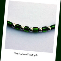 Green Beaded Anklet - Green And Silver - Gift For Her - Cube Bead Anklet - Summer Jewelry - Dark Green Anklet - Boho - Ankle Bracelet