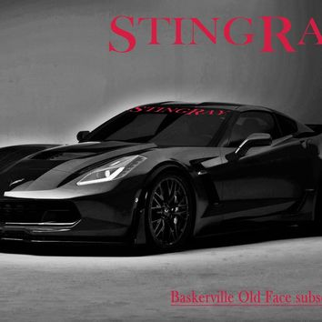 "Windshield Decal ""STINGRAY"" Corvette Banner Visor Sticker Choose your font"