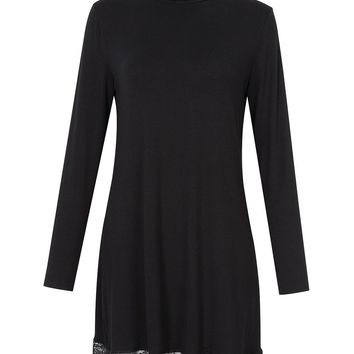Leadingstar Women Turtleneck Long Sleeve Floral lace Stitching Slim Bottom Dress
