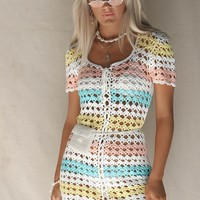 Moonstone Crochet Multi Stripe Lace Up Dress