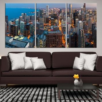 90235 - Chicago Wall Art Canvas Print - Extra Large Chicago City Night Canvas Print