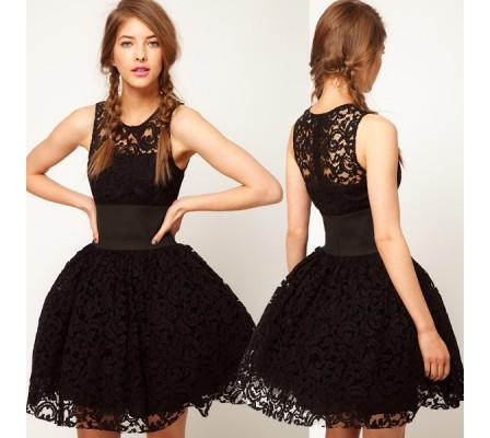 Black Belted High Waist Ball Gown Skater Style Lace Dress