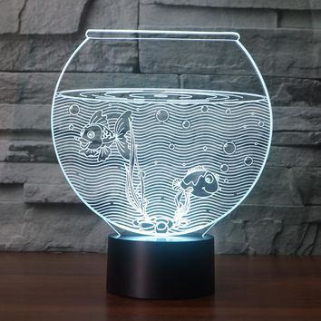 3D Illusion Night Light  LED Light 7 Color with Touch Switch USB Cable Nice Gift Home Office Decorations, Fish Tank