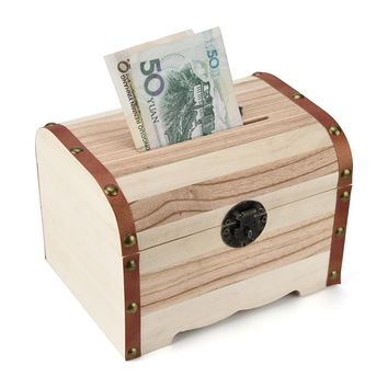 Wooden Piggy Bank Safe Money Box Savings With Lock