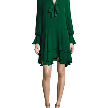 Alice + Olivia Moore V-Neck Layered Tunic Dress, Green