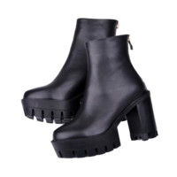 Thick Heel Back Zipper Boots