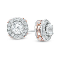 5.0mm Lab-Created White Sapphire Frame Stud Earrings in Sterling Silver with 18K Rose Gold Plate - View All Earrings - Zales