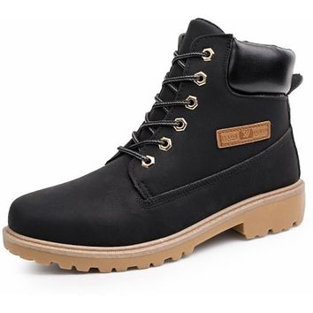 Mens Outdoor Winter Army Style Waterproof Boots Black Size 8