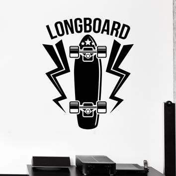 Vinyl Wall Decal Longboard Skateboard Sport Art Room Mural Stickers Unique Gift (516ig)