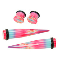 Acrylic Teal Pink Purple Tie Dye Taper And Plug 4 Pack