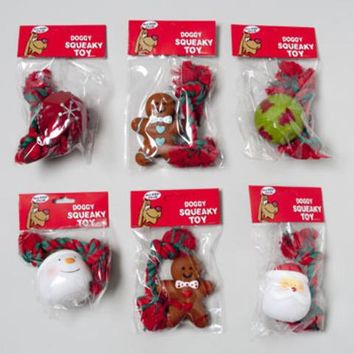 Christmas Dog Toy Vinyl With Squeaker 2 piece 6 assorted in PDQ - 66 Units