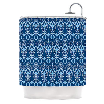 "Julia Grifol ""Blue Deco"" Aqua Pattern Shower Curtain"