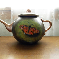 Hand-Carved Painted Butterfly Gourd Faux Teapot