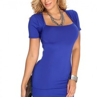 Royal Blue Short Sleeve Sexy Party Dress