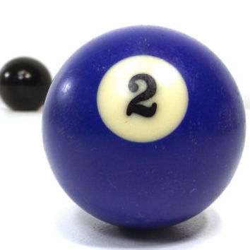 vintage 70s pool ball number 2 two blue resin billiard collectible object decorative home decor altered art game room men modern retro old