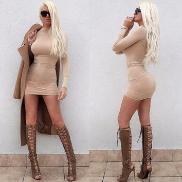 Long Sleeve Funnel Collar Mini Bodycon Dress