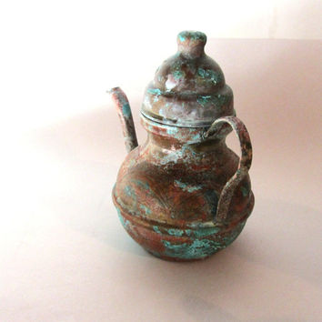 Small verdigris vintage oriental copper kettle with lid. Embossed. Copper handle. Blue copper patina.