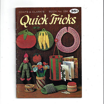 1968 Coats & Clark's Quick Tricks Crochet, Knit Book No. 188, Pot Holders, Jabot, Slippers, Clown Toy, String Holder, Collar, Vintage Book
