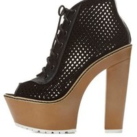 Dollhouse Perforated Peep Toe Lace-Up Booties