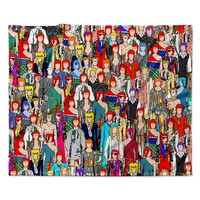 """Notsniw """"Where's Bowie?"""" Red Black Fleece Throw Blanket"""