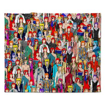 "Notsniw	 ""Where's Bowie?"" Red Black Fleece Throw Blanket"
