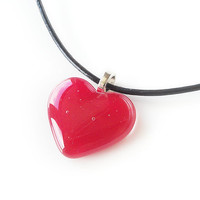 Necklace , Red Heart Pendant, Fused Glass Jewelry
