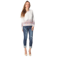 Women's Cream Knitted Sweater With Paint Splatter Print